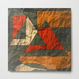 Golden Red-Orange on Gray Metal Print