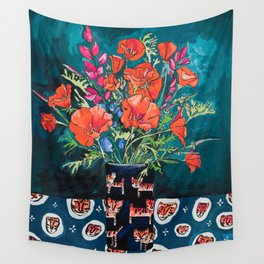 California Poppy and Wildflower Bouquet on Emerald with Tigers Still Life Painting Wall Tapestry
