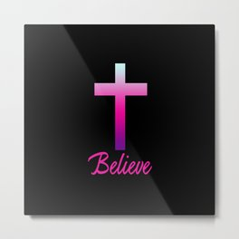 Believe (Pink Cross) Metal Print