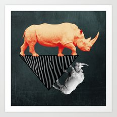 The orange rhinoceros who wanted to become a zebra Art Print