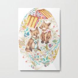 Red Fox Kits Spring Garden Party - Invitations Via Snail Mail Metal Print