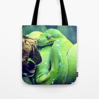 snake Tote Bags featuring Snake by Yoshigirl