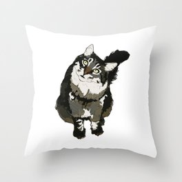 Cat Yellow Eyes Throw Pillow