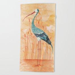 An Exotic Stork Beach Towel