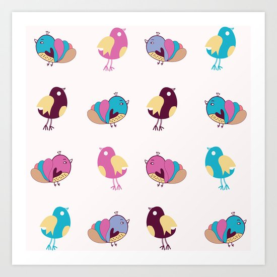 Cute Birds Pattern Art Print