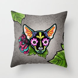 Chihuahua in Black - Day of the Dead Sugar Skull Dog Throw Pillow