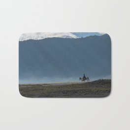 The lonely horse rider at Bromo, East Java, Indonesia Bath Mat