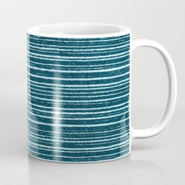 Teal watercolor brushstrokes geometrical stripes Coffee Mug