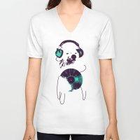 record V-neck T-shirts featuring Record Bear by Picomodi