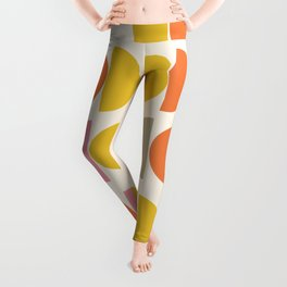 Cute Geometric Shapes Pattern in Pink Orange and Yellow Leggings
