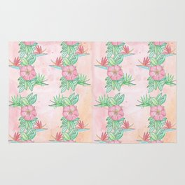 Tropical flowers and leaves watercolor Rug