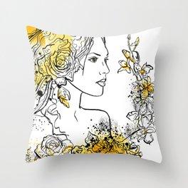 nature flower woman Throw Pillow