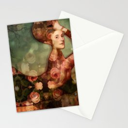 Mermaid among flowers Stationery Cards