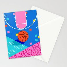 Shot Caller - memphis retro basketball sports athletic art design neon throwback 80s style Stationery Cards