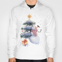 snowman Hoodies featuring snowman by green penguin