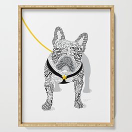 Typographic French Bulldog - Black and White Serving Tray