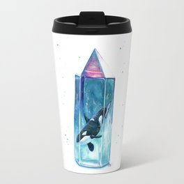 Aura cetus Orca Crystal Watercolor Travel Mug