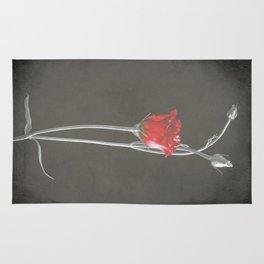Red Lisianthus on Black  Rug