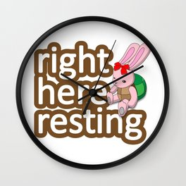 Turtle rabbit right here resting. Wall Clock