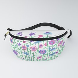 Cheerful spring flowers watercolor Fanny Pack