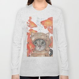 Scuba Cat Among the Fishes Long Sleeve T-shirt