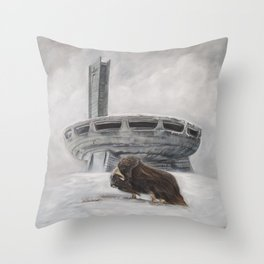 The Lone Musk Ox Throw Pillow