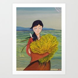 AoiShima KiiroiHana | Yuko Nagamori Art Print