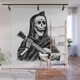 Vintage Illustration, A Skeleton Playing the Guitar Wall Mural
