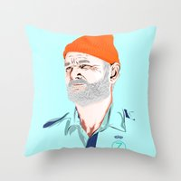 zissou Throw Pillows featuring Doc Zissou by The Art Warriors
