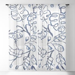 Tropical Plant Boho Chinoiserie Blue and White Sheer Curtain