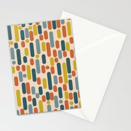 Morningside Heights Mid Century Modern Pattern in Steel Blue, Mustard, Orange, and Cream Tones Stationery Cards