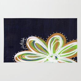 Navy and Gold Flower Rug