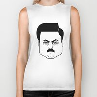 ron swanson Biker Tanks featuring Ron Swanson by Jude Landry