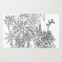 Succulent doodle - black + white Rug