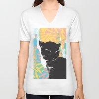 memphis V-neck T-shirts featuring Memphis Cat by kelsosullivan