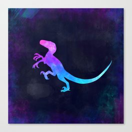 VELOCIRAPTOR IN SPACE // Dinosaur Graphic Art // Watercolor Canvas Painting // Modern Minimal Cute Canvas Print