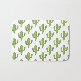 Hand painted green black white floral cactus Bath Mat