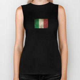 Old and Worn Distressed Vintage Flag of Italy Biker Tank