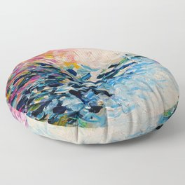 PARADISE DREAMING Colorful Pastel Abstract Art Painting Textural Pink Blue Tropical Brushstrokes Floor Pillow