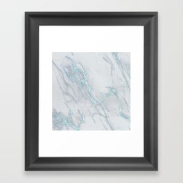 Marble Love Sea Blue Metallic Framed Art Print
