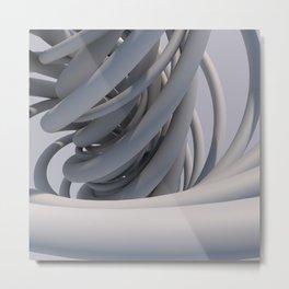 White Spiral Metal Print