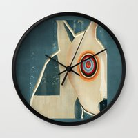 bull terrier Wall Clocks featuring bull terrier days by bri.buckley