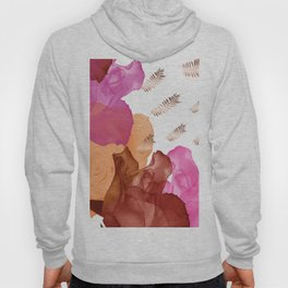 Vibrant Floating Rose Petals & Gold Leaves Hoody