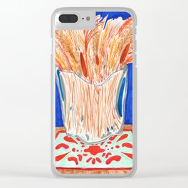 Glass Vase with Dried Plants drawing Clear iPhone Case