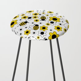 Honey Bumble Bee Yellow Floral Pattern Counter Stool