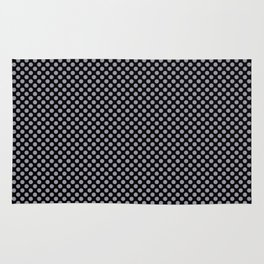 Black and Lilac Gray Polka Dots Rug