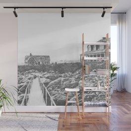 1895 Windswept Black Point Mansion, Scarborough Beach, Narragansett, Rhode Island Then & Now Wall Mural