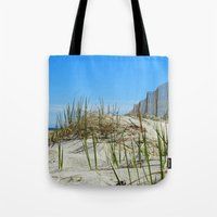 cape cod Tote Bags featuring Cape Cod Dunes by Doreen Calvano Art & Photography