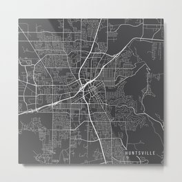 Huntsville Map, USA - Gray Metal Print
