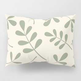 Green on Cream Assorted Leaf Silhouettes Pillow Sham